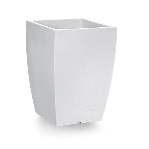 Bloempot Genesis, vierkant, H60 cm, wit - VECA