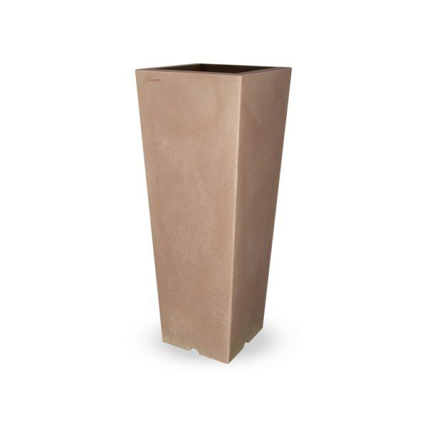 PLASTECNIC - Bloempot Qun Vaso Quadro Alto, H100 cm, taupe - kunststofbloempot.nl