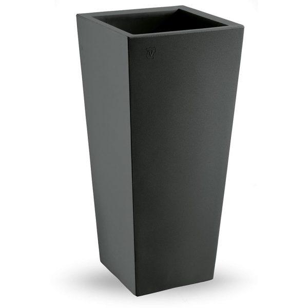 Bloempot Genesis vierkant H100 cm antraciet - VECA