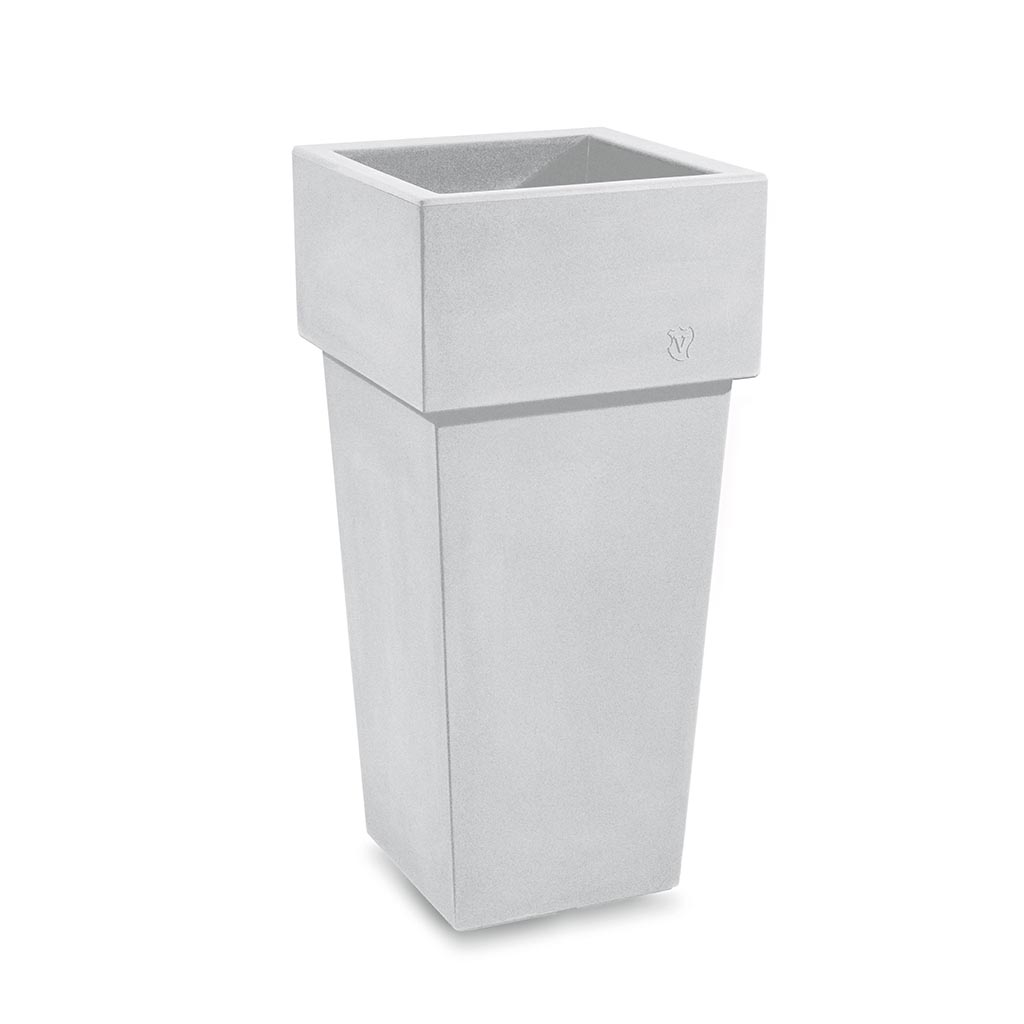 Bloempot Gemini, vierkant, H100 cm, wit - VECA