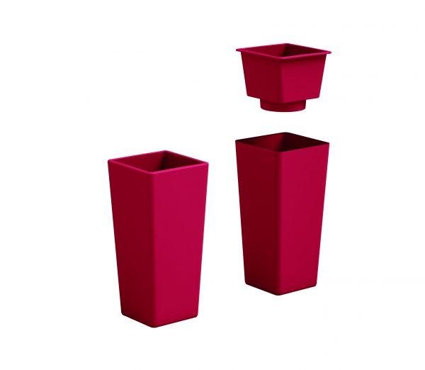 VECA - Bloempot Clou, vierkant, H85 cm, rood